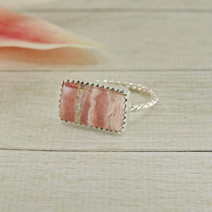 Rectangular Rhodochrosite Ring - Size 8 1/2 - Gem & Tonik