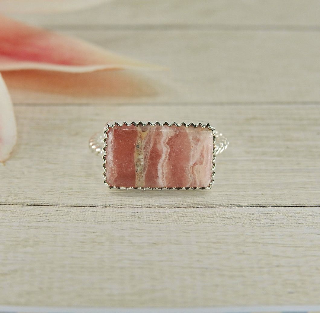 Rectangular Rhodochrosite Ring - Size 8 1/2 - Sterling Silver - Gem & Tonik
