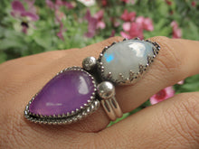 Load image into Gallery viewer, Moonstone & Purple Chalcedony Ring - Size 7 3/4 - Sterling Silver - Gem & Tonik