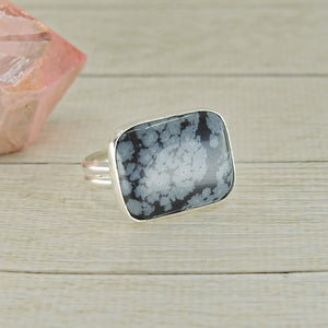 Rectangular Snowflake Obsidian Ring - Size 8 - Gem & Tonik