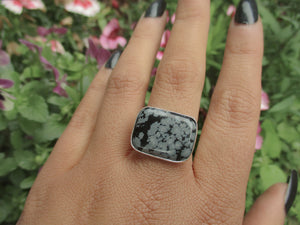 Rectangular Snowflake Obsidian Ring - Size 8 - Sterling Silver - Gem & Tonik