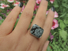 Load image into Gallery viewer, Rectangular Snowflake Obsidian Ring - Size 8 - Gem & Tonik