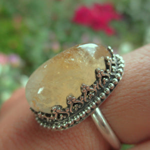 Large Citrine Ring - Size 7 1/2 - Sterling Silver - Gem & Tonik