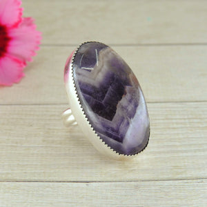 Chevron Amethyst Statement Ring - Size 8 - Sterling Silver - Gem & Tonik