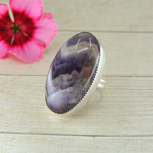 Load image into Gallery viewer, Chevron Amethyst Statement Ring - Size 8 - Sterling Silver - Gem & Tonik
