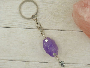 Amethyst Leaf Keyring - Sterling Silver & Stainless Steel - Gem & Tonik