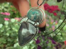 Load image into Gallery viewer, The Forest Dweller - Nacozari Turquoise & Moss Agate Pendant - Sterling Silver - Gem & Tonik