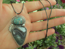 Load image into Gallery viewer, The Forest Dweller - Nacozari Turquoise & Moss Agate Pendant - Gem & Tonik
