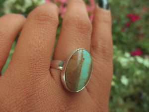 Number 8 Turquoise Ring - Size 10.5 - Sterling Silver - Brown and Blue Turquoise Jewellery - Genuine Turquoise Jewelry - Oval Gemstone Ring