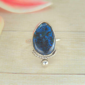 Azurite Ring - Size 7 1/2 - Sterling Silver - Gem & Tonik