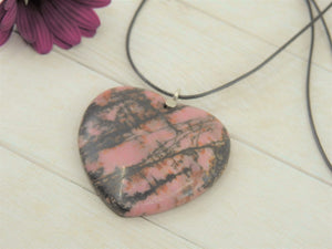Rhodonite Heart Pendant - Sterling Silver - Gem & Tonik