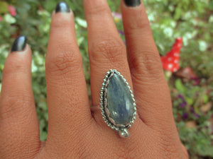 Blue Kyanite Ring - Size 10 - Sterling Silver - Gem & Tonik