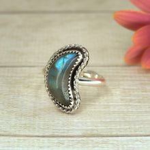 Load image into Gallery viewer, Crescent Moon Labradorite Ring - Size 6 3/4 - Gem & Tonik