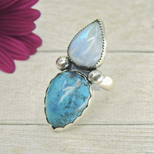Load image into Gallery viewer, Chrysocolla & Rainbow Moonstone Ring - Size 9 1/4 - Sterling Silver - Gem & Tonik