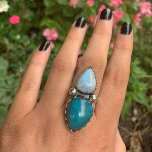 Chrysocolla & Rainbow Moonstone Ring - Size 9 1/4 - Sterling Silver - Gem & Tonik