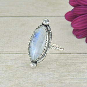 Marquise Moonstone Ring - Size 7 1/2 - Gem & Tonik