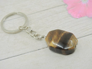 Tiger's Eye Keyring - Sterling Silver & Stainless Steel - Gem & Tonik