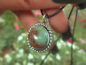 Green and Brown Royston Turquoise Pendant - Sterling Silver - Gem & Tonik