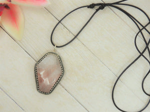 Rose Quartz Coffin Pendant - Sterling Silver - Gem & Tonik