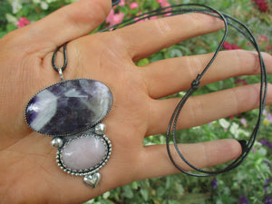 Amethyst & Rose Quartz Pendant - Sterling Silver - Gem & Tonik