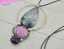 Load image into Gallery viewer, Amethyst, Dendritic Opal & Purpurite Pendant - Sterling Silver - Gem & Tonik