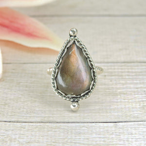 Purple and Gold Labradorite Ring - Size 6 1/4 - Sterling Silver - Gem & Tonik