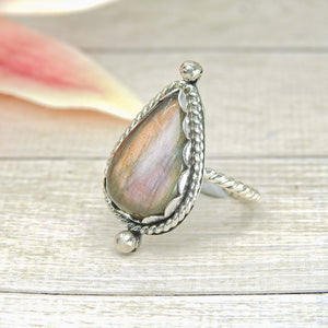 Purple and Gold Labradorite Ring - Size 6 1/4 - Gem & Tonik