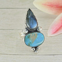 Load image into Gallery viewer, King's Manassa Turquoise & Labradorite Ring - Size 9 - Sterling Silver - Gem & Tonik