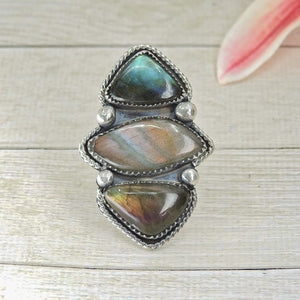Labradorite Triple Stone Ring - Size 8 - Sterling Silver - Gem & Tonik