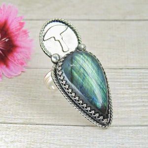Blue Labradorite Toadstool Ring - Size 10 1/4 - Sterling Silver - Gem & Tonik