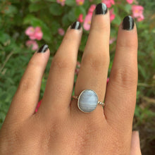 Load image into Gallery viewer, Faceted Blue Lace Agate Ring - Size 6 3/4 - Sterling Silver - Gem & Tonik