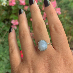 Faceted Blue Lace Agate Ring - Size 6 3/4 - Sterling Silver - Gem & Tonik