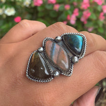 Load image into Gallery viewer, Labradorite Triple Stone Ring - Size 8 - Sterling Silver - Gem & Tonik