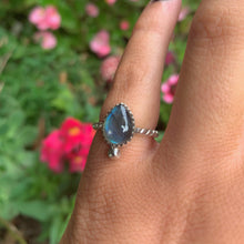 Load image into Gallery viewer, Blue Labradorite Ring - Size 4 - Sterling Silver - Gem & Tonik