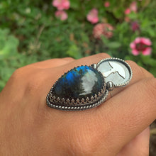 Load image into Gallery viewer, Rainbow Labradorite Toadstool Ring - Size 8 1/4 - Sterling Silver - Gem & Tonik