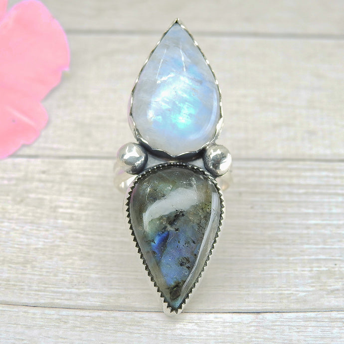 Moonstone & Labradorite Ring - Size 8 1/2 - Sterling Silver - Gem & Tonik