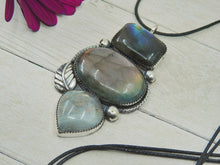 Load image into Gallery viewer, Labradorite & Moonstone Triple Stone Pendant - Sterling Silver - Gem & Tonik