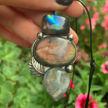 Load image into Gallery viewer, Labradorite & Moonstone Triple Stone Pendant - Gem & Tonik