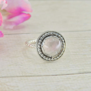 Dainty Rose Quartz Ring - Size 5 - Sterling Silver - Gem & Tonik