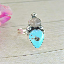 Load image into Gallery viewer, Morenci Turquoise & Rose Quartz Ring - Size 9 - Sterling Silver - Gem & Tonik