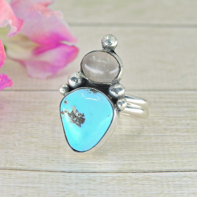 Morenci Turquoise & Rose Quartz Ring - Size 9 - Gem & Tonik