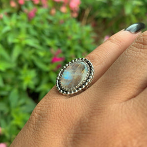 Rainbow Moonstone Ring - Size 5 - Sterling Silver - Gem & Tonik