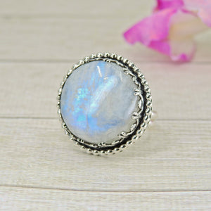 Large Moonstone Ring - Size 9 1/4 - Sterling Silver - Gem & Tonik