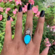 Load image into Gallery viewer, Turquoise Mountain Turquoise & Rose Quartz Ring - Size 7 - Sterling Silver - Gem & Tonik