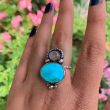 Load image into Gallery viewer, Bluebird Turquoise & Rose Quartz Ring - Size 7 - Sterling Silver - Gem & Tonik