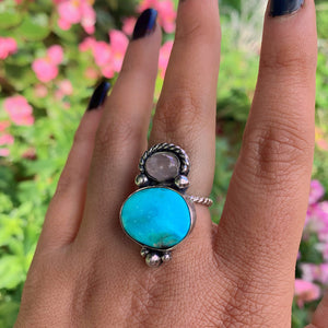 Bluebird Turquoise & Rose Quartz Ring - Size 7 - Sterling Silver - Gem & Tonik