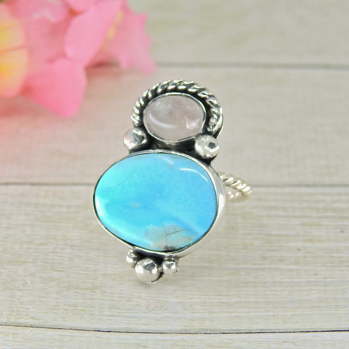 Bluebird Turquoise & Rose Quartz Ring - Size 7 - Gem & Tonik