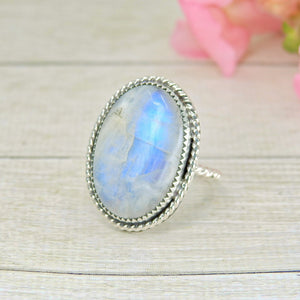 Large Moonstone Ring - Size 8 1/2 - Sterling Silver - Gem & Tonik