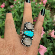 Load image into Gallery viewer, Dry Creek Turquoise & Rose Quartz Triple Stone Ring - Size 8 - Gem & Tonik
