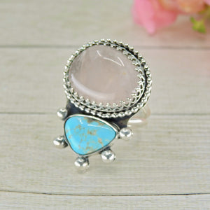 Royston Turquoise & Rose Quartz Ring - Size 10 - Sterling Silver - Gem & Tonik